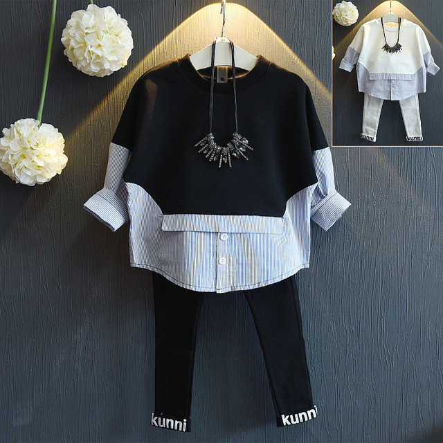 Girls in autumn 2016 new long sleeved sweater false boom t-shirt  free shipping