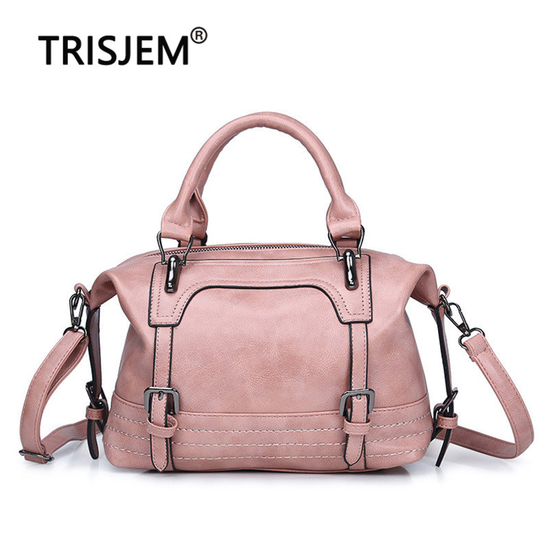 TRISJEM Women Vintage Bag Women's Leather Handbags Luxury Ladies Hand Bags Women Messenger Bag Tote Sac a Main Bolsos Mujer Pink