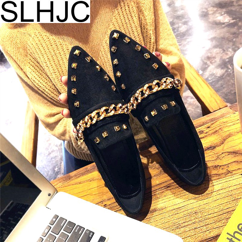 SLHJC 2018 Spring Summer Rivet Flats Shoes Women Fashion Metal Chain With Bees Flat Heel Casual Loafers Sexy Pointed Toe 2017 womens spring shoes casual flock pointed toe narrow band string bead ballet flats flat shoes cover heel women flats shoes