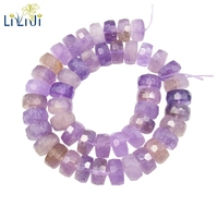 Lii Ji Gemstone Natural Ametrine Flat Round Faceted Loose Beads about 8x14mm for DIY Jewelry Making about 39cm