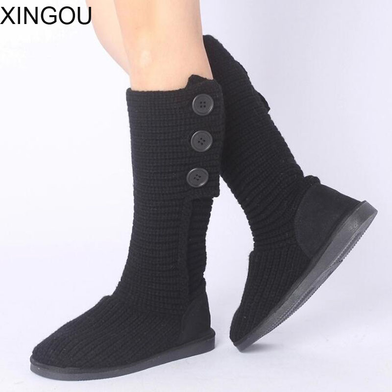 2018 new fashion female boots plush length snow shoes soft knitting warm winter boots slip resistant bottom women snow boots