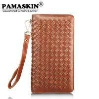 PAMASKIN Long Men Zipper Purses With Hand Rope Premium Real Leather Handmade Knitting Fashion Weave Grain
