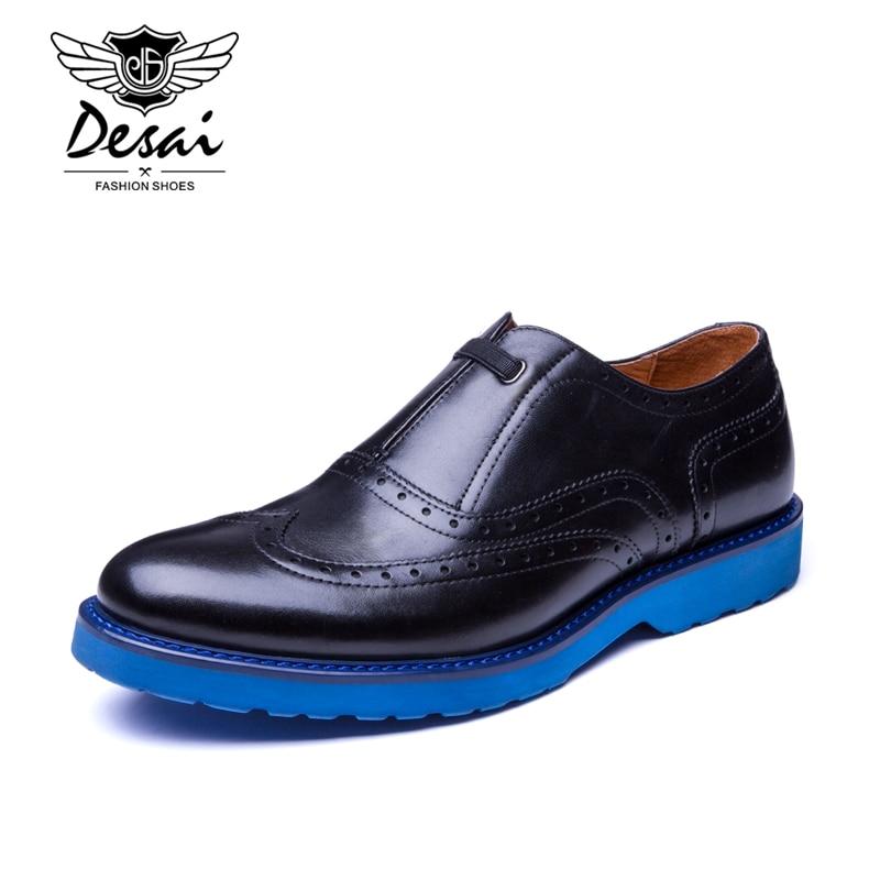 Desai Brand British Fashion Mens Dress Shoes Genuine Leather Slip On Designer Wingtip Carved Oxfords Shoes Men Flats Black раздвижная дверь купить в спб