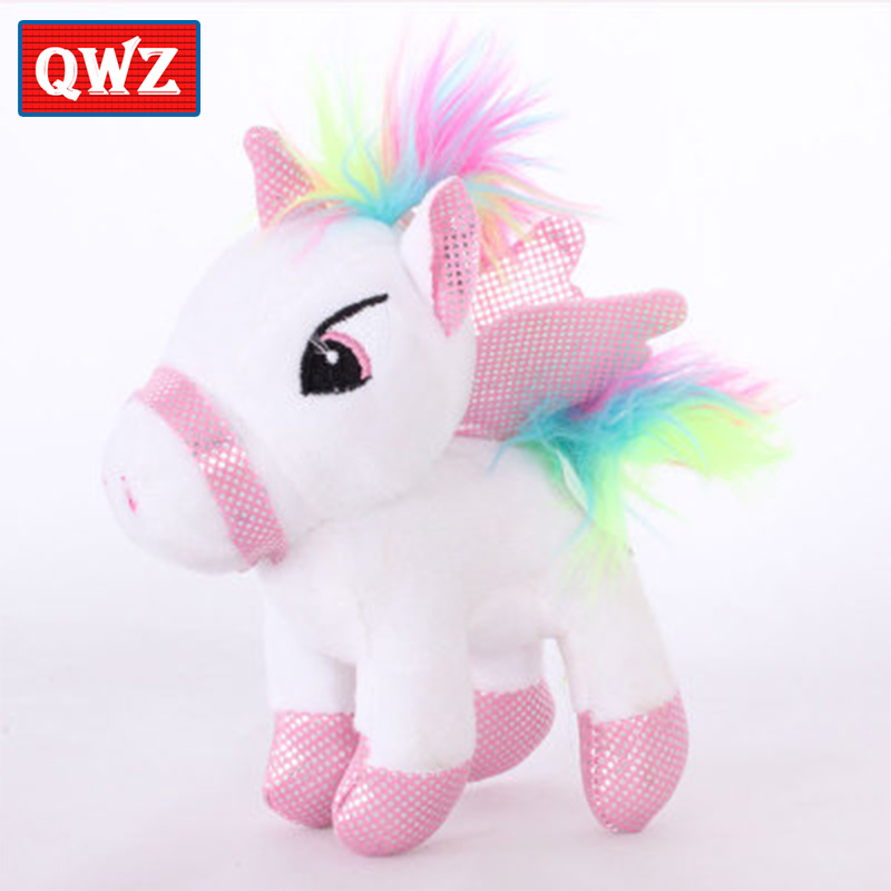 QWZ 23CM Cute Pink unicorn Plush Toy Rainbow Pony Dash Doll Home Decoration Pillow Kawaii Toy For Children Gift For Girl hot sale 50cm the last airbender resource appa avatar stuffed plush doll toy x mas gift kawaii plush toys unicorn