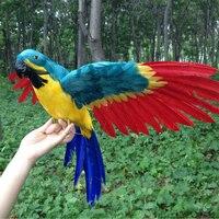 Büyük yeni kırmızı kanatları papağan oyuncak polietilen ve kürkler simülasyon renkli kuş modeli hediye yaklaşık 45 cm 1260
