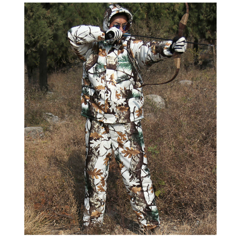 Winter Outdoor Hunting Waterproof Warm Jacket + Pants Hiking Camp Fishing Riding Climbing Windproof Snow Bionic Camouflage Suits