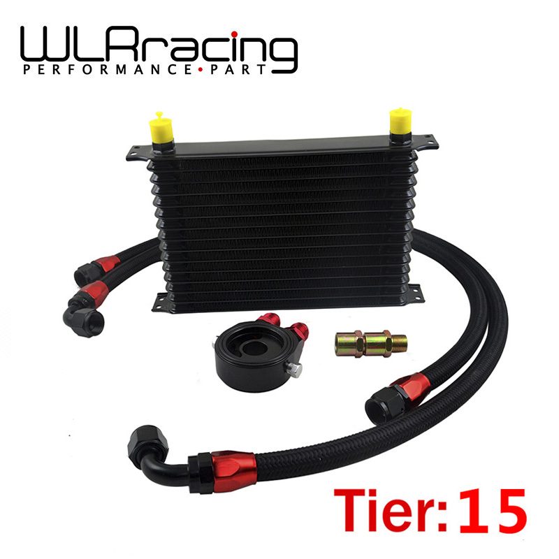 WLR - UNIVERSAL 15 ROWS TRUST TYPE OIL COOLER+OIL FILTER SANDWICH ADAPTER BLACK + SS NYLON STAINLESS STEEL BRAIDED AN10 HOSE wlr universal 10 rows trust type oil cooler an10 oil sandwich plate adapter with thermostat 2pcs nylon braided hose line black