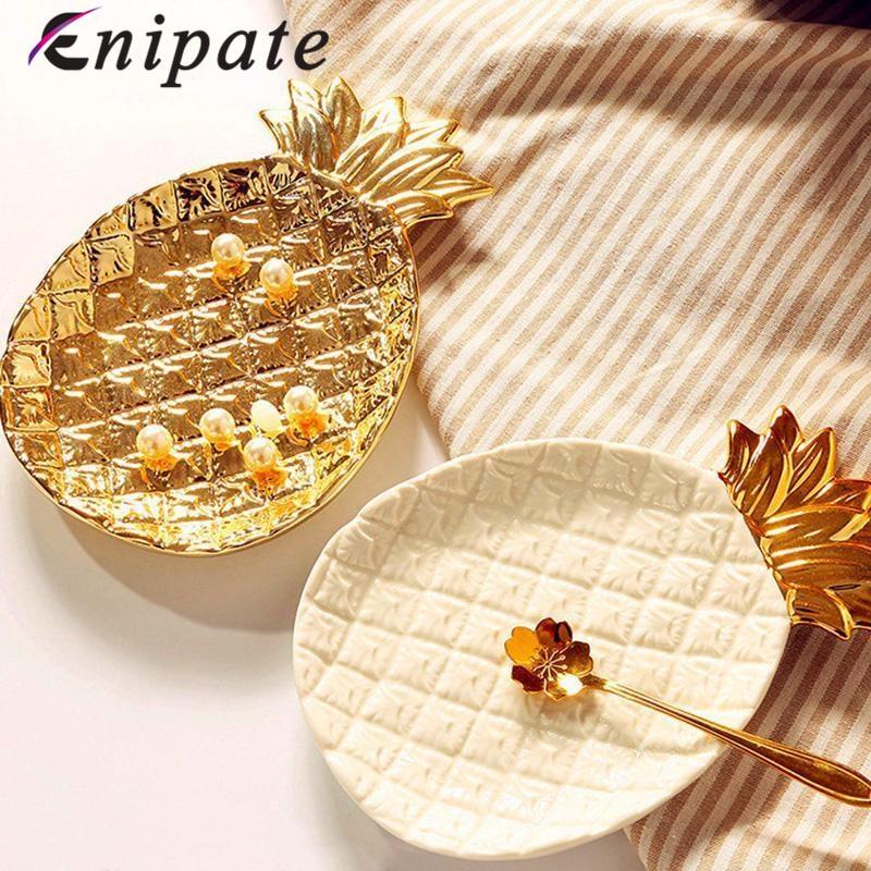 Plate, Desserts, Ceramic, Storage, Gold, Jewelry