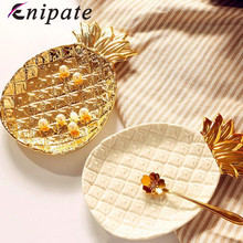 Enipate Gold Pineapple Ceramic Plate Jewelry Dish Leaf Porcelain Cosmetic Storage Desserts Snack Home Decoration