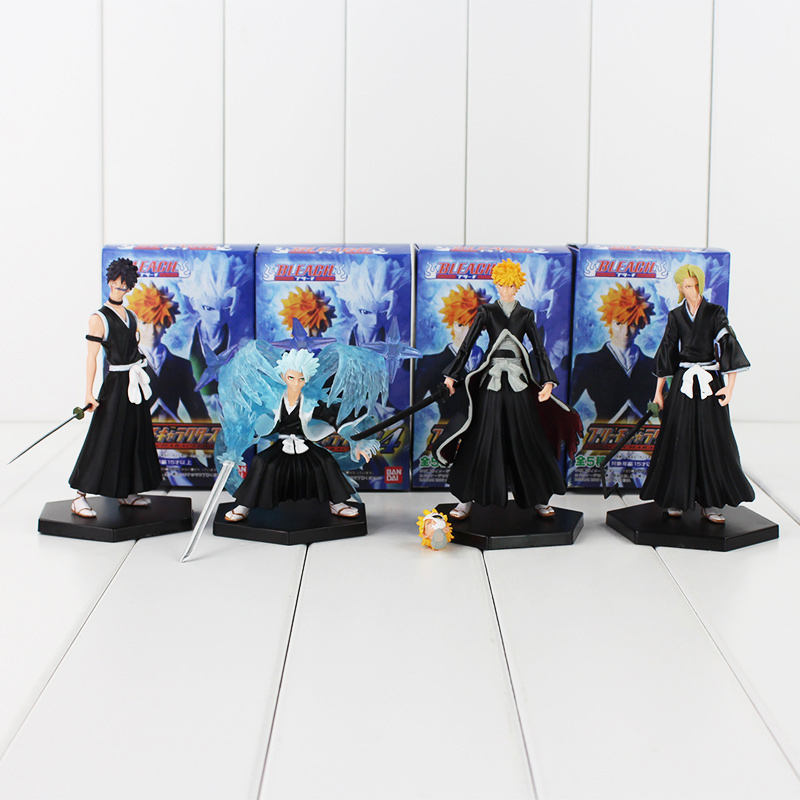 4pcs/lot BLEACH Kurosaki Ichigo Hitsugaya Toushirou PVC Figure Toys Collections Model Dolls Children Gifts 9-12cm