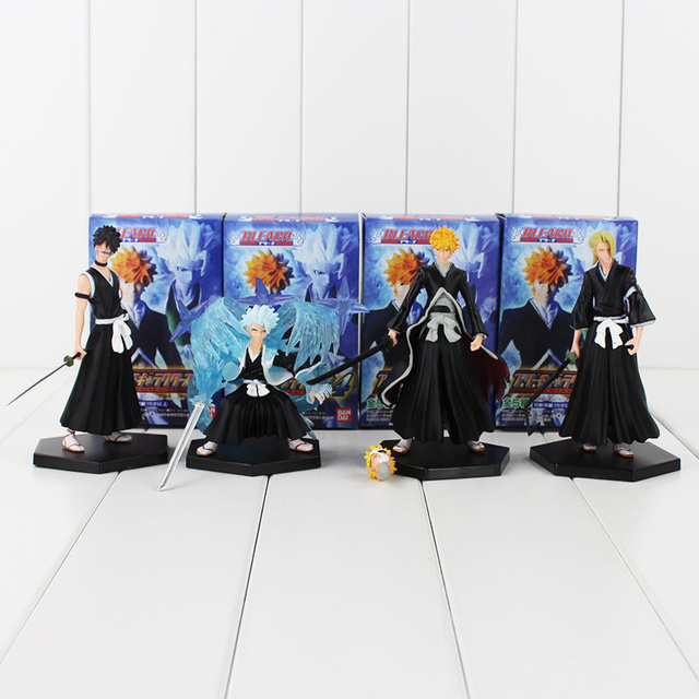 4pcs/lot BLEACH Kurosaki Ichigo Hitsugaya Toushirou PVC Figure Toys Collections Model Dolls Children Gifts 9-12cm