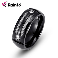 RainSo Men S Stainless Steel Ring Hematite Healthy Healing Magnetic Ring With Wire Cubic Zirconia Men