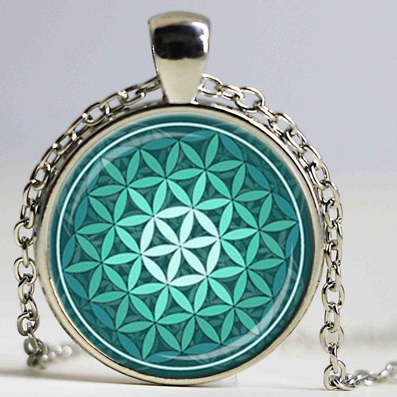 FLOWER OF LIFE Pendant Teal Green Aqua Spiritual Jewelry