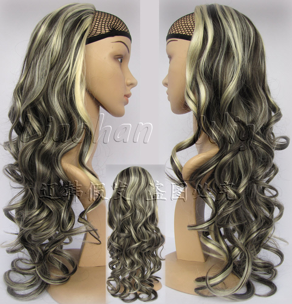 Fashion Highlight Half Wig Long Curly Wig Hair Fall Synthetic Hair