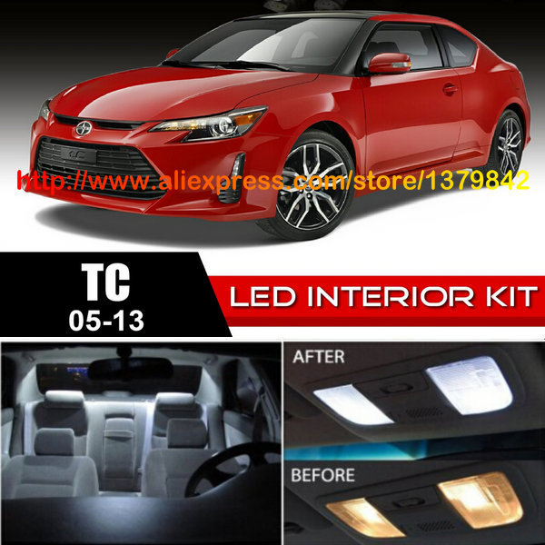 Free Shipping 10pc/lot car-styling LED Lights Car Styling Hi-Q Interior Package Kit For 05-13 Scion tC