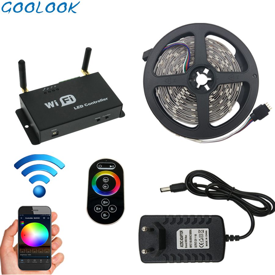 LED bande lumière RGB bande LED bande Flexible LED étanche ruban WIFI Mode télécommande 12 V adaptateur secteur