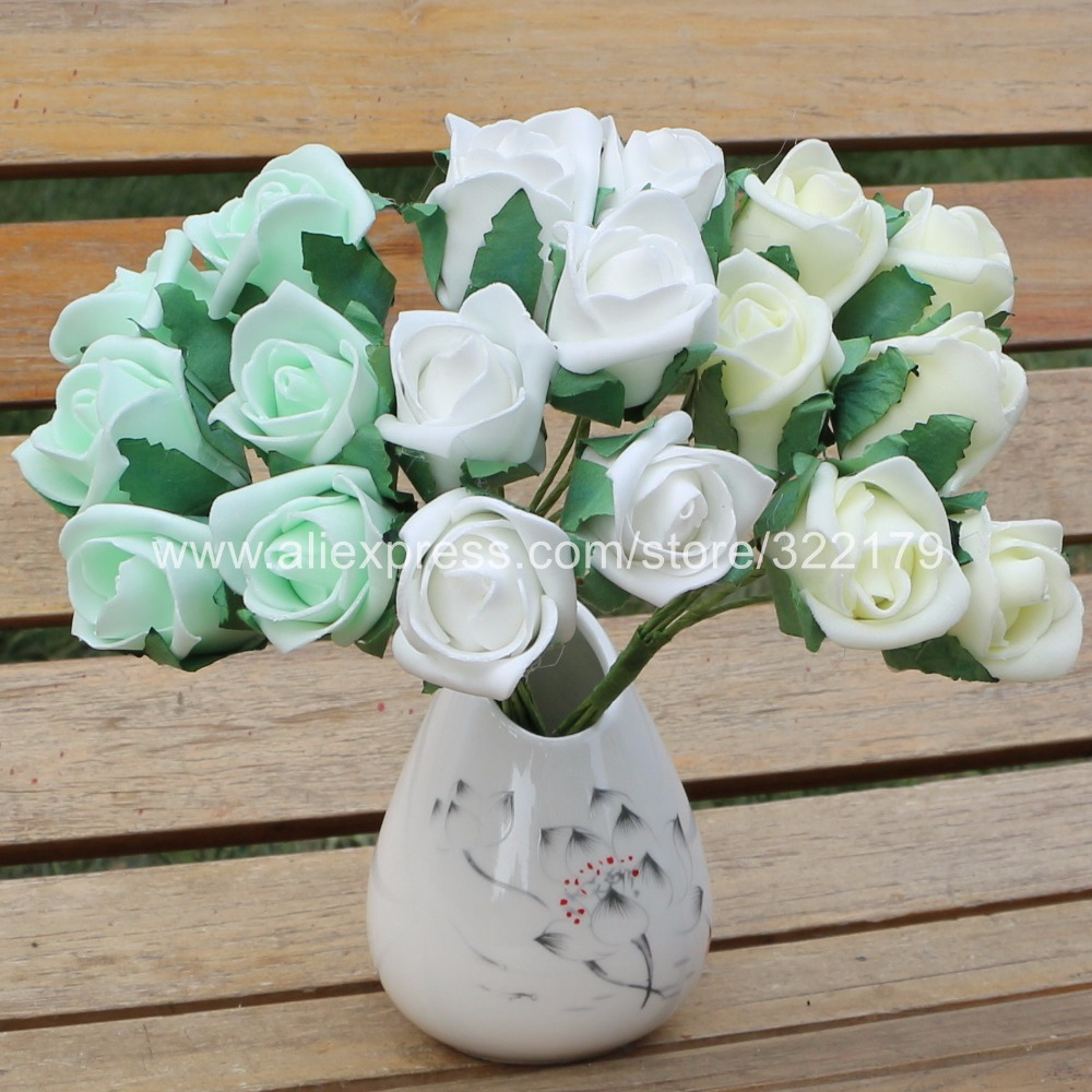 Small flowers for crafts - Foam Flowers Roses Artificial Flower Buds 144 Heads For Bridal Bouquet Groomsmen Boutonniere Corsages Groom Flowers