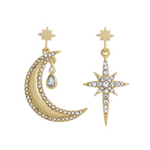 Vintage Crystal Star Moon big asymmetric earrings for women Dangle Earrings Metallic Brincos Personality Bijoux Gift