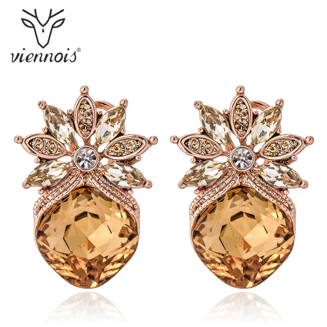 Viennois Fashion Jewelry Coffee Gold Color Women Stud Earrings Crystal  Rhinestone Trendy Earrings New a4cfafa407e8