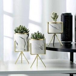 Набор из 3 шт. мраморные белые керамические цветочные горшки с железной подставкой настольные кашпо украшение дома сада с золотыми деталями