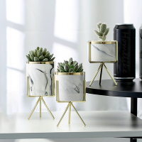 Set of 3pcs Marbling White Ceramic Flower Pots with Iron Stand Desktop Planters Home Garden Decoration with Gold Detailing