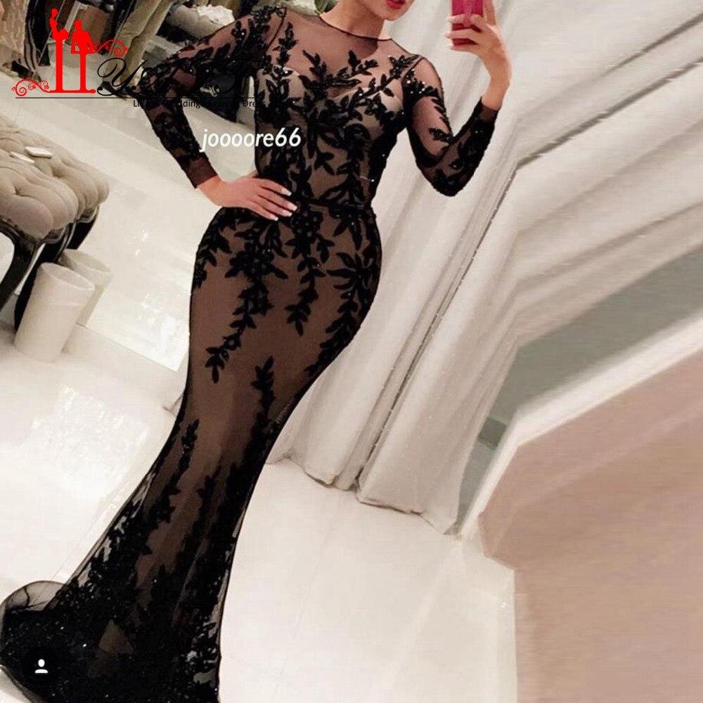 Buy 2017 Custom Made Long Sleeve Mermaid Evening Dresses Black Lace Floor Length Islamic Dubai Abaya Kaftan Long Evening Gown LY439