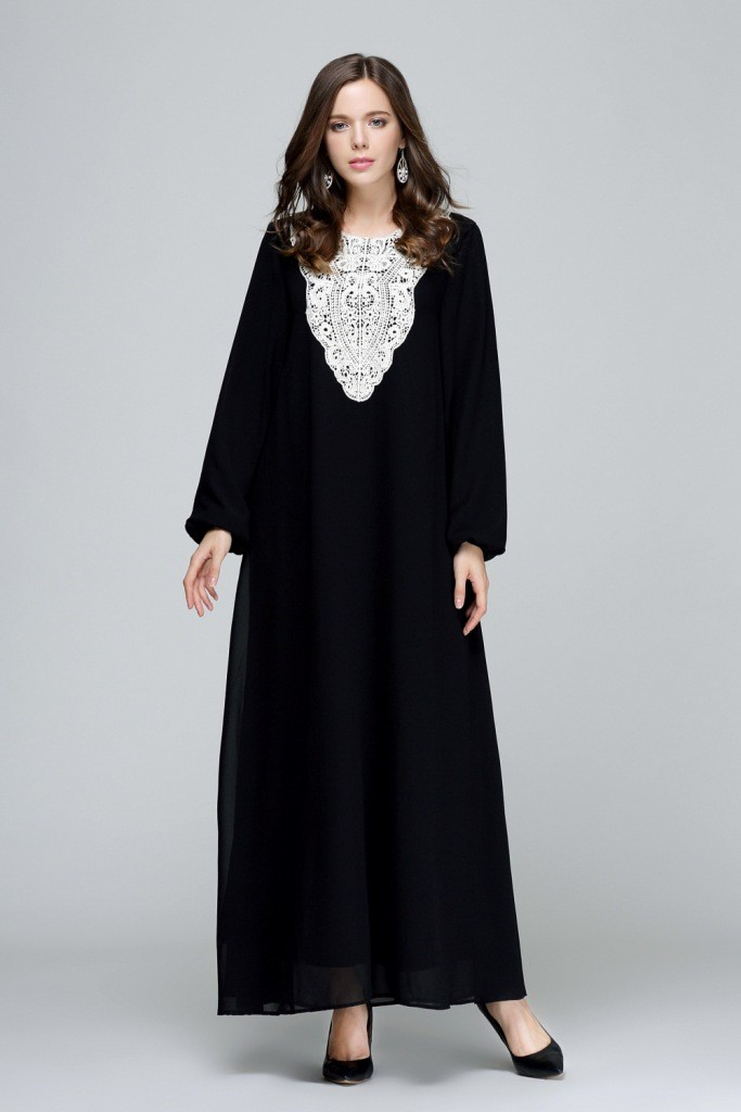 2018 Limited Ropa Mujer Musulmane Appliques Adult Turkish Jilbabs And Abayas Muslim Arab Women New Loose Dress Wholesale W118