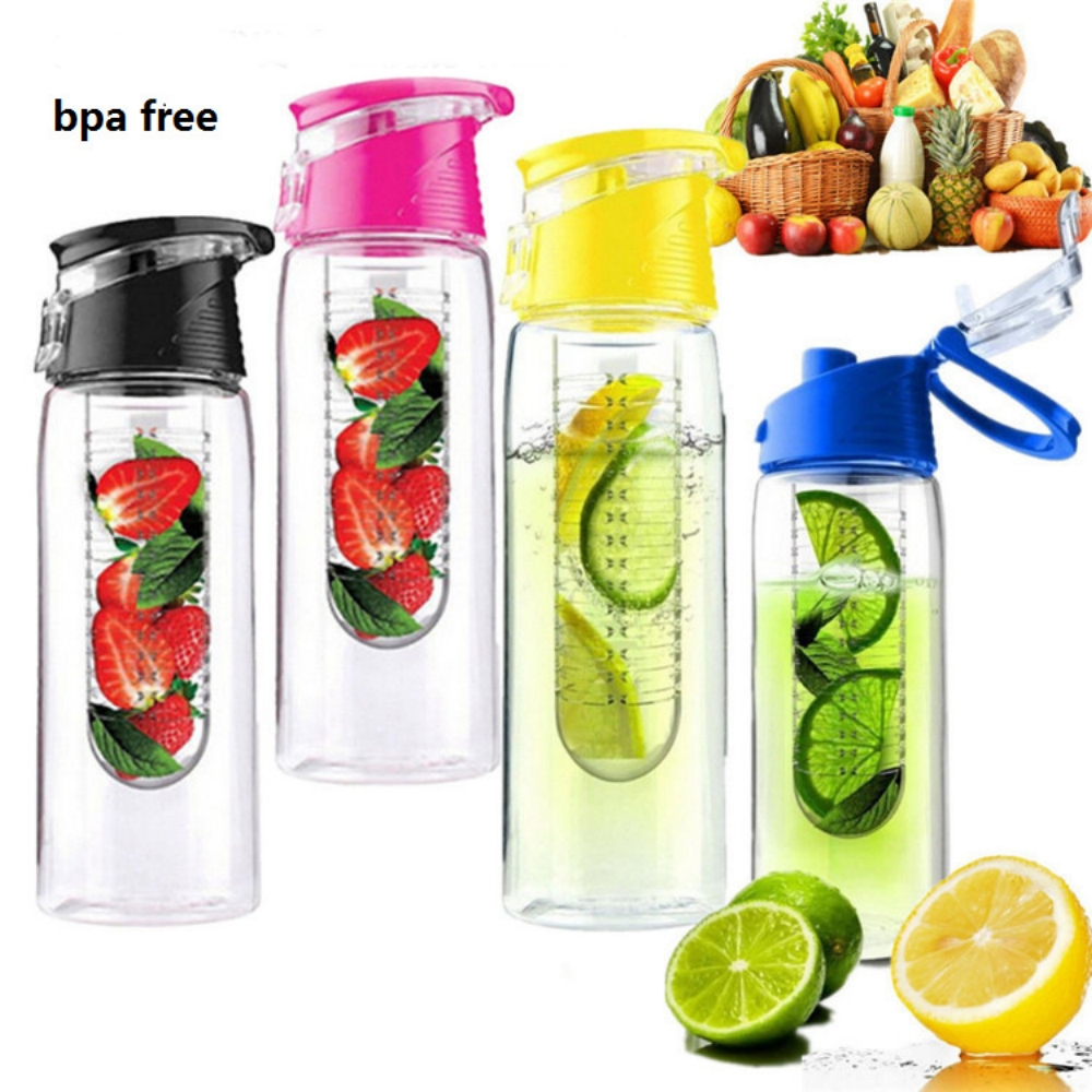 800ml Pink Fruit Infusing Water Bottle With Fruit Infuser And Flip Lid Lemon Juice Make Bottle- BPA Free Outdoor Portable Bootle ...