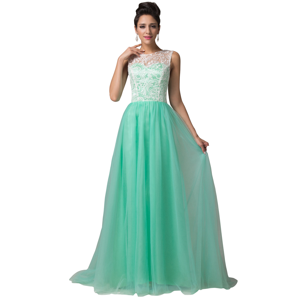 Grace Karin Sleeveless New Green/White applique Prom Gown Lace Long ...