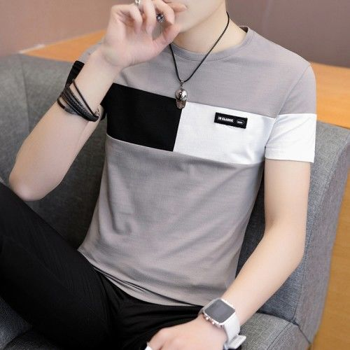2019 New Men T Shirt Casual Short Sleeve Men's Basic Tops Tees Stretch T Shirt Mens Clothing Chemise Homme(China)