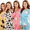 Mulheres Pijamas Ternos Dos Desenhos Animados Primavera Outono Feminino Longo-luva de Seda Leite Calças de Pijama Pijamas dos ternos