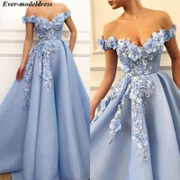 Light Blue Off Shoulder Prom Dresses Long 2019 3D Flowers Pearls Zipper Back Sweep Train Formal Party Gowns Vestidos De Festa