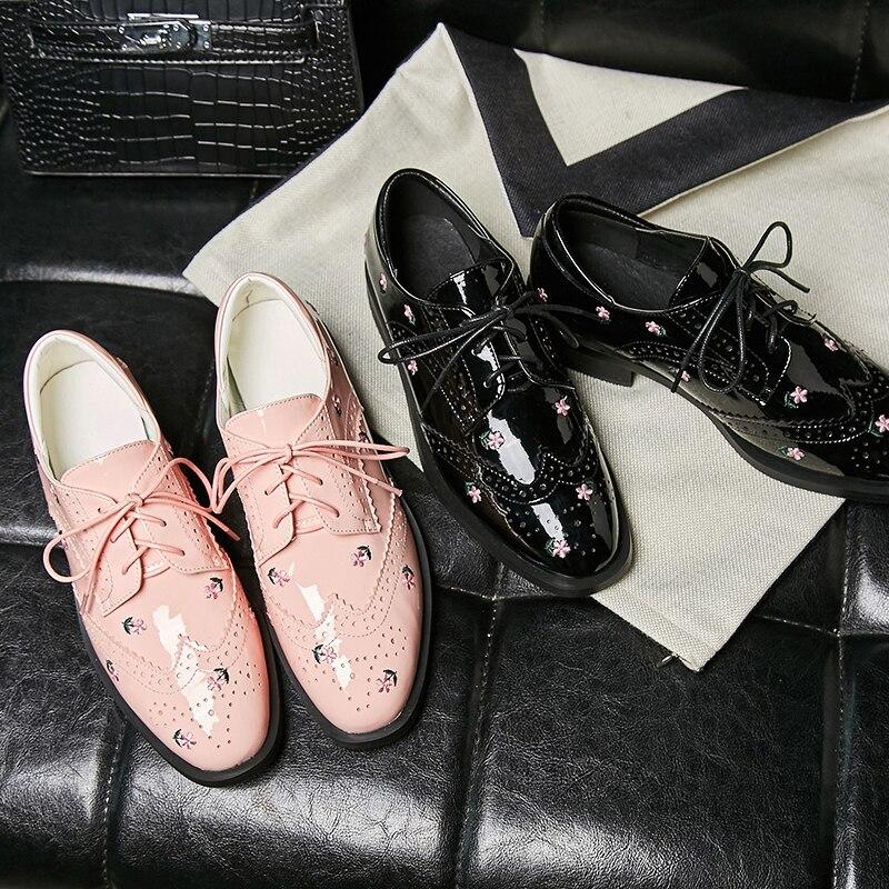rose Verni Noir Femmes En Printemps Bout 2019 Mouillé Pompes Appliques richelieus Carré Cut Chaussures Épais Baiser Cuir Mode Talons Richelieu Femme qBRHXt