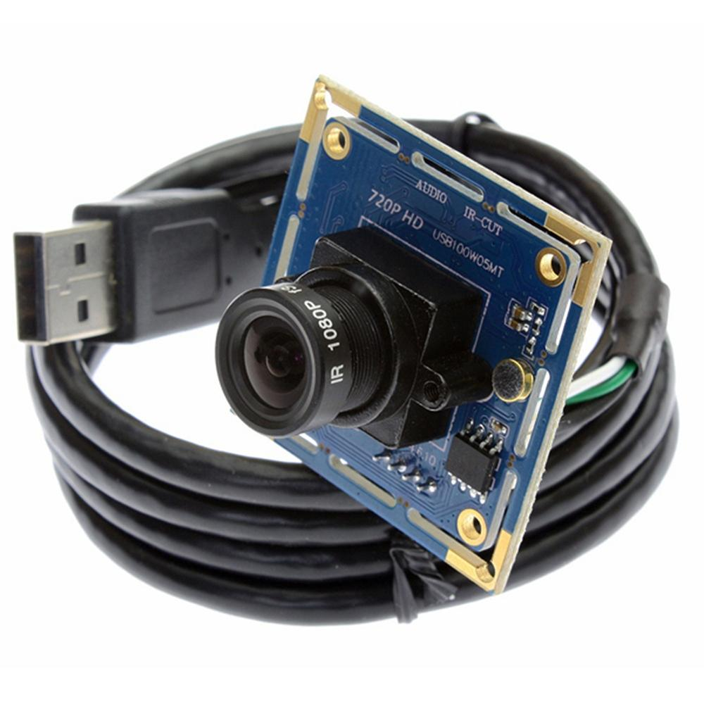 ELP 1MP 720P HD Omnivision CMOS OV9712 UVC 1.1 Industrial Wide Angle lens Mini MIC Audio Video USB Camera Module with Microphone elp 1080p h264 aptina ar0330 color cmos camera module usb cctv full hd 2 8mm wide angle lens camera module usb with audio mic