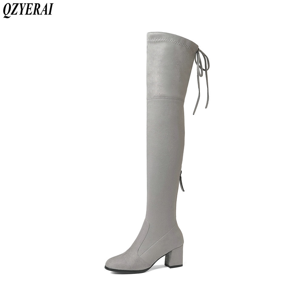 QZYERAI 2018 Over The Knee Boots Flock Winter Round Toe Women Boots Ladies Lace Up Stretch Fabric Fashion Boots Big Size 34-43