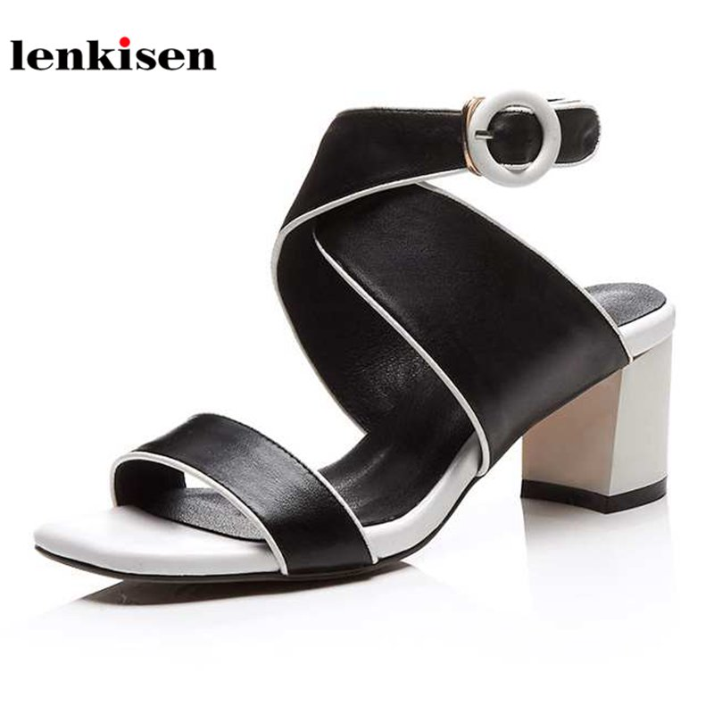Lenkisen peep toe cow leather British style causal summer shoes buckle strap streetwear mature mixed colors women sandals L3f1