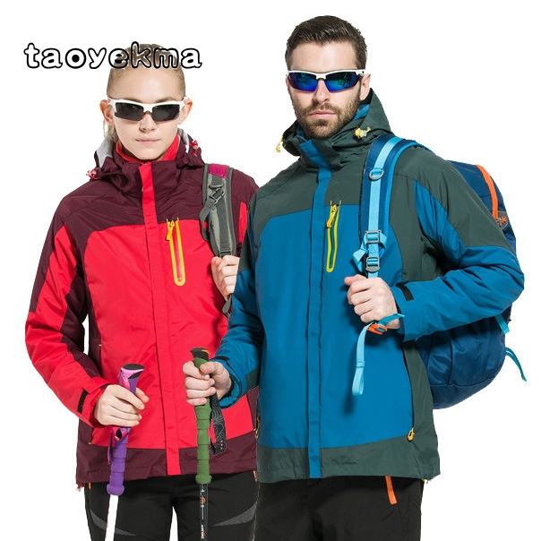 New Women & Men's windbreaker Hiking Jackets Waterproof Outerwear Sport Hoodied Camping Trekking 2 in 1 warm Coats winter F09 grenseure free shipping 9 lcd monitor video intercom door phone system rfid code keypad outdoor camera electromagnetic lock