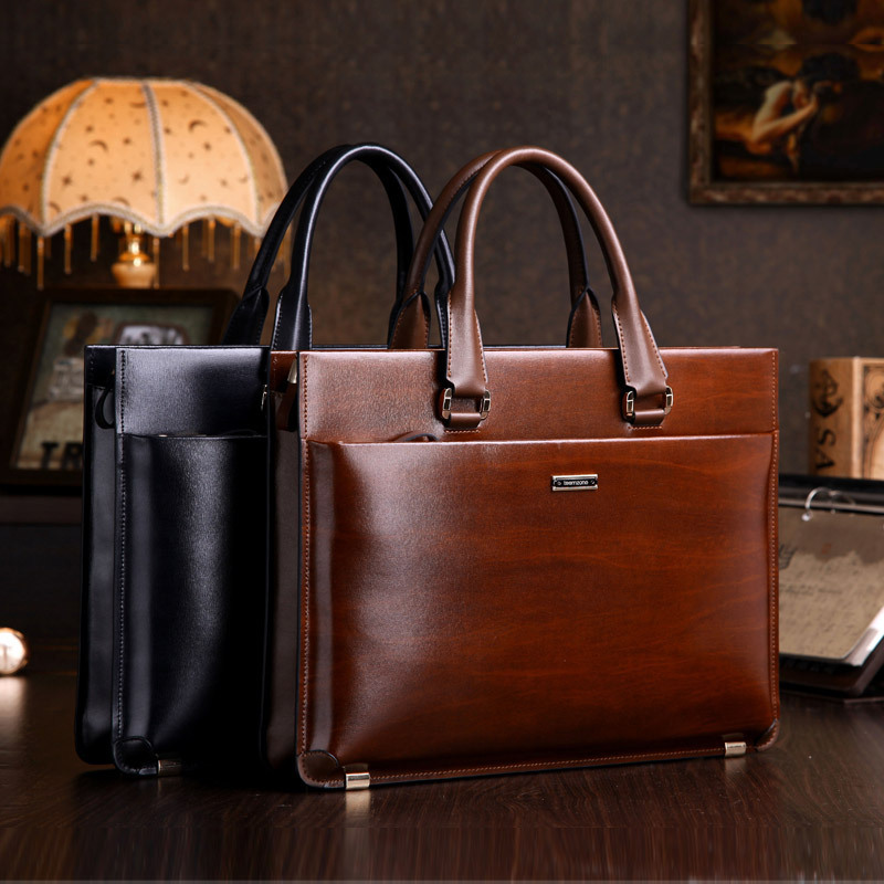 teemzone - Men's Genuine Leather High-end Business Briefcase Messenger Laptop Case Attache Bag Brown Attache Portfolio Tote J25