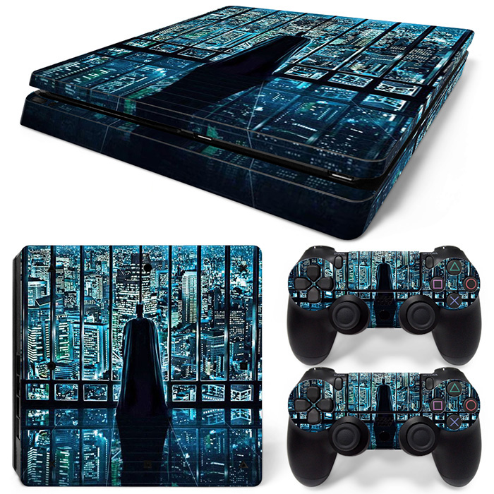 blue tall building skin for popular game lovers skin sticker for PS4 slim console and two controller covers #TN-P4Slim-0085