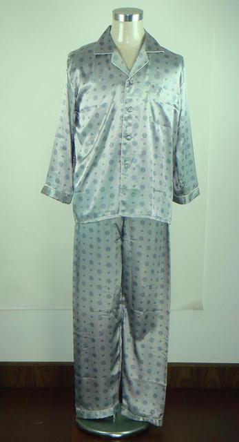 Nueva Moda Gris de Los Hombres Satén Pijamas pijamas Primavera Otoño Salón de Dormir Shirts + Pants 2 UNIDS Tamaño Ml XL XXL S0036