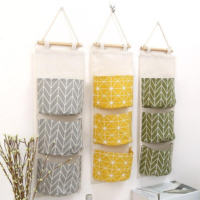 1 PCS Home Decoration Hanging Bag 3 Pockets Cotton Linen Wall Hanging Storage Bag Door Bag Bedroom Home Storage Bag AP11051053