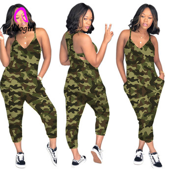 Adogirl multicolor camo sleeveless lady jumpsuits off shoulder sexy military suits plus size 3xl overall playsuits casual outfit