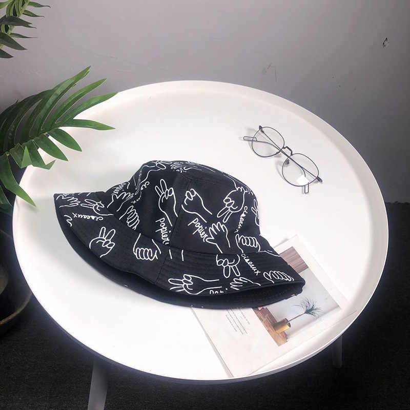 قبعة المرأة الربيع و الصيف الكورية السيدات صياد قبعة البرية عادية في الهواء الطلق حوض قبعة الكتابة على الجدران الهيب هوب الرجال قبعة بحافة beanies