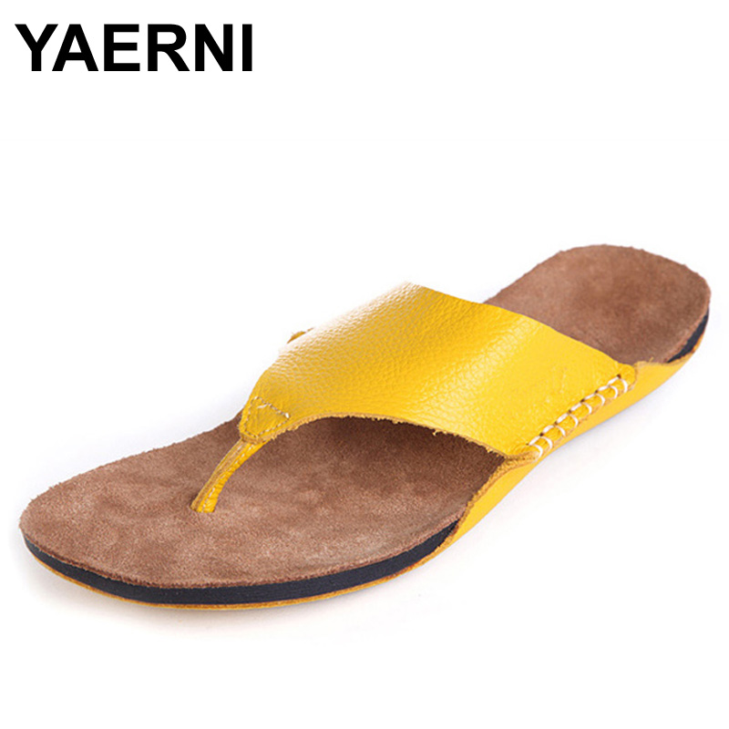 YAERNI Shoes Woman Flip Flops 100% Authentic Leather Open Toe slipper Beach Slides Woman Summer Shoes Ladies Footwear недорого