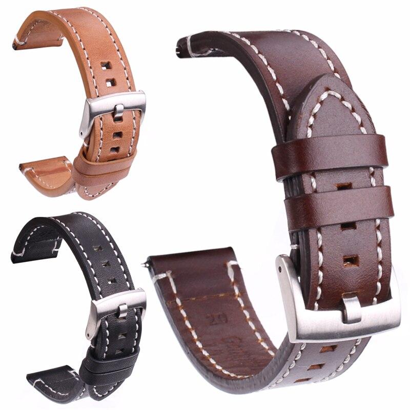 Banda de reloj de cuero genuino suave Correa 18 20 22 24mm negro marrón oscuro Vintage Watchbands plata cinturón hebilla negro