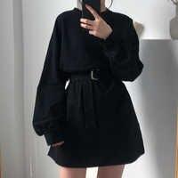 7 colors long sleeve dress women spring autumn korean style dress ladies solid color loose t shirt dress women with belt (X218)