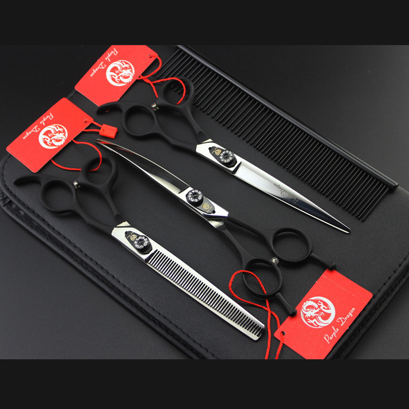 Purple Dragon 7Inch Black Pet Grooming Scissors Set Professional Dog Shears Hair Cutting +Curved+ Thinning Scissor With Comb Bag