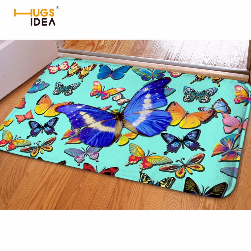 HUGSIDEA Front Entrance Door Mat Personalized Animal Butterfly Pattern Soft Flannel Carpets Kitchen Living Room Bath