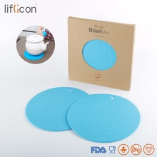 Liflicon Round Pure Silicone Bowl Mats Heat Insulation Non-Slip Pads Modern Cup Coaster Creative Table Mat Think Pot Trivet Hole