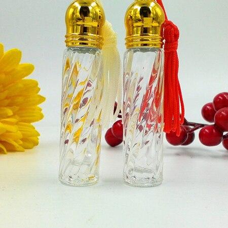 Mode 3 ml rouleau MINI verre parfum bouteille or couvercles couleur gland décor voyage vide maquillage parfum flacons 20 pcs/lot DC792